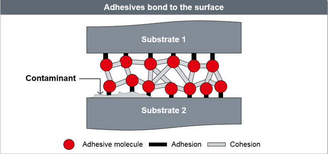 Adhesives bond to the surface